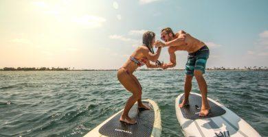 padel surf hinchable en pareja